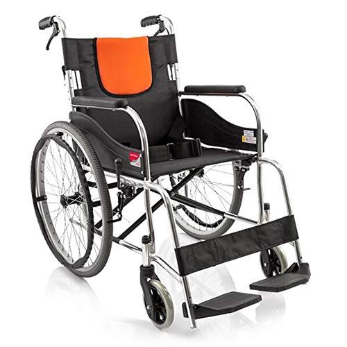 Silla de ruedas autopropulsada plegable ligera Aleación de aluminio ligero Fold silla de ruedas, Manual de Viajes Walker mayor / lisiado empuje enfermería silla de ruedas portátil de viaje para usuari