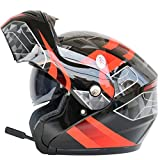 Casco moto per adulti Bluetooth Moto Antifogging Dual Lens Caschi Flip Up Off-Road Motocross...
