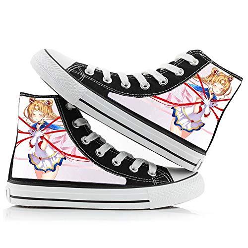 Boyijj Sailor Moon Zapatos de Lona de Primavera y otoño Zapatos de Lona para Hombres y Mujeres Zapatos con Estampado de Dibujos Animados Zapatillas de Color Zapatos Casuales,43 EU