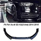 LIBAITIAN Automotive Spoiler Frontspoiler Lippe Fit für Au-di S3 A3 (S-Linie) 2014 2015 Stoßstange Performance Look,Gloss Black