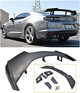 Replacement For 2016-Present Chevrolet Camaro ALL Models   ZL1 1LE Style ABS Plastic Primer Black Rear Trunk Lid Wing Spoiler
