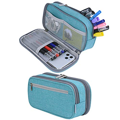 Big Capacity Pencil Case Pen Case Pencil Bag Pouch Pen Pencil Marker Holder Makeup Bag Stationery Organizer with Large Storage for Teen Boys Girls College High School & Office Supplies (Light Blue)
