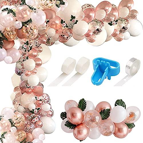 Arche Ballon,163 pcs ballon blanc et rose gold pour decoration anniversaire, decoration mariage, baby shower, ballons anniversaire fille et garcon