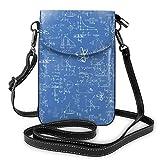 Lawenp Monedero de cuero para teléfono, bolso bandolera pequeño de fórmula matemática azul Mini bolso de hombro para teléfono celular para mujer