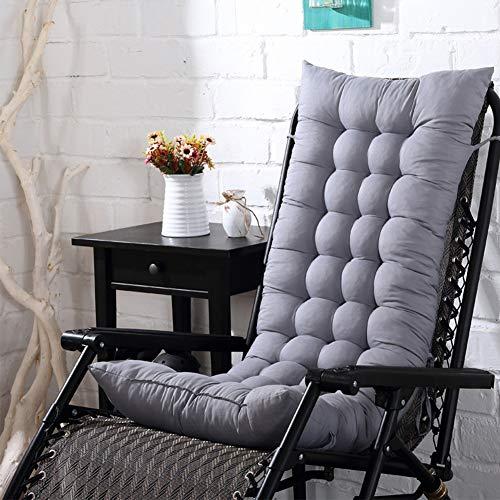 Cojín para silla de respaldo alto, 110 x 40 x 8 cm, para exteriores, patio, tumbona, asiento reclinable, acolchado, grueso, con respaldo, No nulo, Gris plateado, Tamaño libre