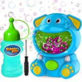 WisToyz Bubble Machine, Portable Cute Elephant Bubble Maker Automatic Bubble Toys for Kids Toddlers with Bubble Solution Bulk 500+ Bubbles per Minute Bubble Blower Machine Indoor Outdoor Toys