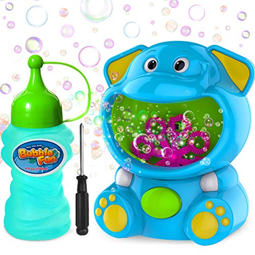 WisToyz Bubble Machine Elephant Bubble Blower Bubble Toys 500+ Bubbles Per Minute, Bubble Machine for Kids Toddler with Bubble Solution Bubble Maker Easy to Use 2 AA Batteries Needed 5.1X3.9 inch