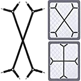 Bed Sheet Fasteners Suspenders Holder Straps - Adjustable Crisscross Elastic Band Fitted Bed Sheet Holder Fasteners Grippers Clip,2pcs/Set Black
