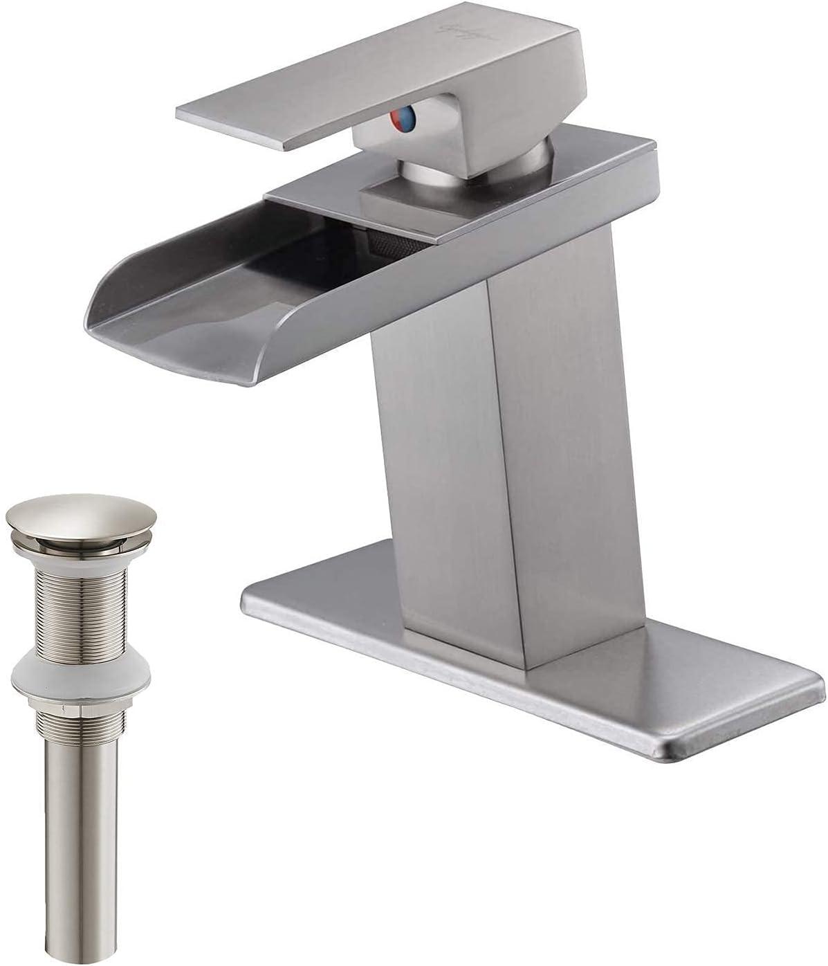 BWE 永遠の定番モデル Bathroom Sink Faucet Brushed Bundle Up Pop 購入 Nickel Waterfall