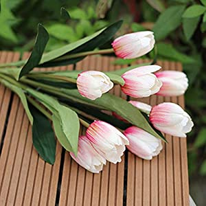 Silk Flower Arrangements Bluelans 9 Heads Artificial Silk Real Touch Tulips Flower Bouquet Home Room or Birthday Garden Decoration (Red White)