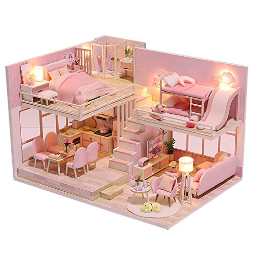 Casa de muñecas en miniatura, kit de casa 3D, casas para minimuñecas, realistas, hecha a mano, casa de muñecas con muebles y luz LED, para regalo de cumpleaños (estilo femenino rosa)