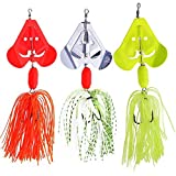 SUNMILE Fishing Buzzbait Spinnerbait Lures Double Willow Blade Spinner Baits for Bass Pike Metal Fishing Lure Pack of 3pcs (Mixcolor buzzbait 0.7oz)