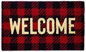 DII Home Natural Coir Doormat, Indoor/Outdoor, 18x30, Buffalo Check Welcome