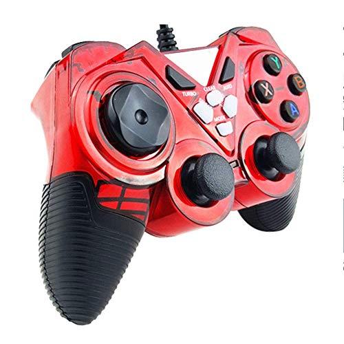 ヘッドフォン ビルトイン非対称モーターサポートコンピュータ/アンドロイドTV/水蒸気/ PS3 /プロジェクター/シミュレータゲーム/Androidのボックス搭載有線ゲームパッドのUSB (Color : Red, Size : Upgraded)