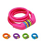 IDEALUX Bike Lock Cable - 4 Feet Resettable Cable Lock - Self Coiling 5 Digit Combination Bicycle Lock ( Rose Red )