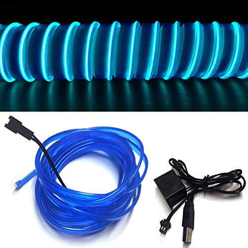 M.best Neon Light El Wire for Automotive Car Interior Decoration with 6mm Sewing Edge (5M/15FT, Blue)