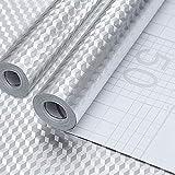 EMAGEREN Pegatinas de Aluminio Impermeable para Armarios Cajón, 2 pcs Papel de Aluminio Adhesivo para Muebles de Cocina Vinilo Autoadhesivo a Prueba de Aceite para Pared y Placa de Cocina 40 * 200cm