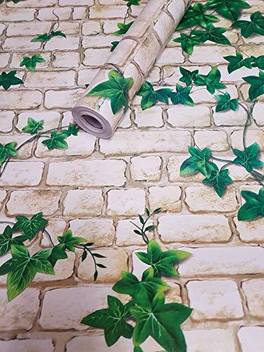 Visario Tapeten Folie 3000-S selbstklebend 10m x 45cm Verschiedene Motive Steinoptik Steine Ranke Dekorfolie Möbelfolie Tapete 3013