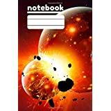 Space Big Bang Outter Space notebook College ruled line Grades K-2 School Exercise Book: Wide ruled Student Composition School Exercise Book Galaxy Back To School Book