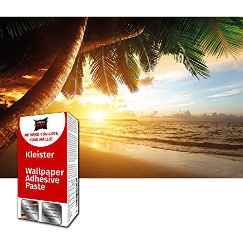 GREAT ART Fototapete Sonnenuntergang am Meer 210 x 140 cm – Strand Palmen Sandstrand Ozean Karibik Tropen Traumstrand Wandtapete Wanddekoration – 5 Teile Tapete inklusive Kleister