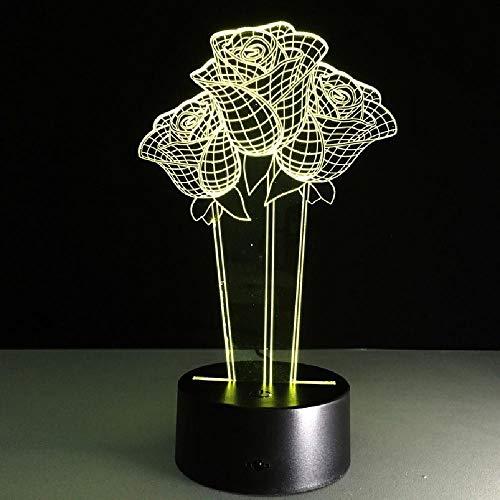 7 colores cambian rosa flor lámpara 3D recuerdo día de san valentín regalo cumplea?os hermoso regalo para mayo día de la madre escritorio noche luz