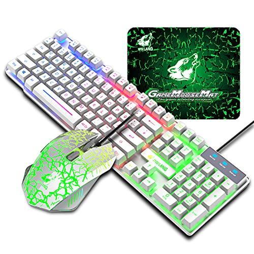 Teclado para gaming, QWERTZ disposición cableada, 104 teclas, teclado retroiluminado arcoíris, 6...
