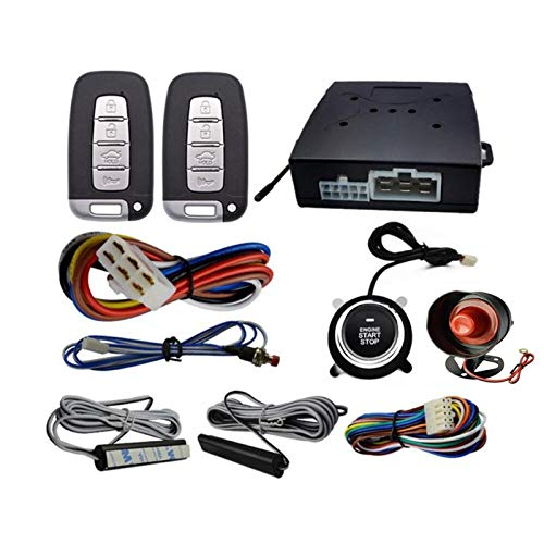 Yxwei 12V PKE Alarma De Automóvil Control Remoto Control Remoto Sin Llave Enginera Inicio Servicio Sistema DE Alarma Sistema Pulsar Push Botón Terreno Remoto Parada Accesorios Auto (Color : Black)