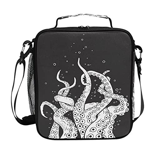Bolsa de almuerzo Fish Ocean Octopus Foot Bubble Insulated Lunch Portable Shoulder Strap Tote Cooler Bag para niños y niñas y hombres