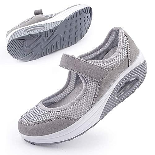 Women's Comfortable Working Nurse Shoes Non-Slip Adjustable Breathable Walking Fitness Casual Nursing Orthotic Shoes Arthritis, Diabetes Heel Pain, Foot Pain, gray38 Grey