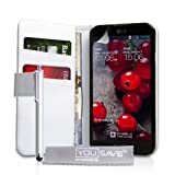 Yousave Accessories® LG-FA01-Z339P - Funda de Piel sintética con lápiz Capacitivo para LG Optimus G Pro, Color Blanco