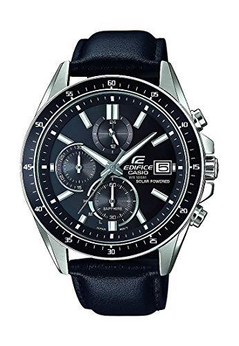 CASIO Herren Chronograph Solar Uhr mit Leder Armband EFS-S510L-1AVUEF