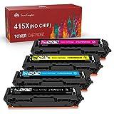 Toner Kingdom Cartucho de Tóner Compatible Repuesto para HP415X(negro-7500;color-6000 páginas) para HP Color Laserjet Pro M454dn M454dw, M479dw M479fnw M479fdn M479fdw (4 paquete,ningún chip)