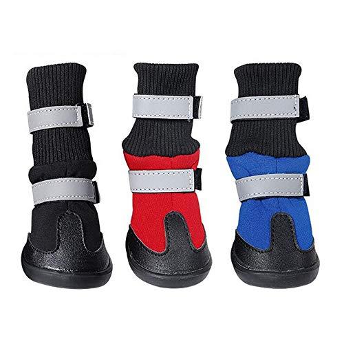 4pcs/Set Suave para Mascotas Perro Antideslizante Botas Zapatos Lluvia Nieve Impermeable Zapatos de Perros para Invierno Herramienta(negromedium)