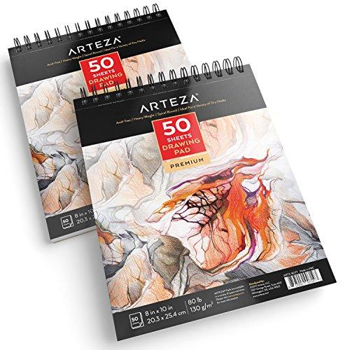 Arteza Zeichenblock 2er-Pack 20.3 x 25.4 cm, 50 Blatt Zeichenpapier 80 lb/ 130 gsm, Skizzenblock Set mit Spiralbindung für Künstler, Profis und Hobbymaler