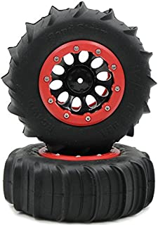 2pcs 1/10 RC 4WD 2.2 Sand Storm Paddle Tires 114mm & Crawler 2.2 Beadlock Rims