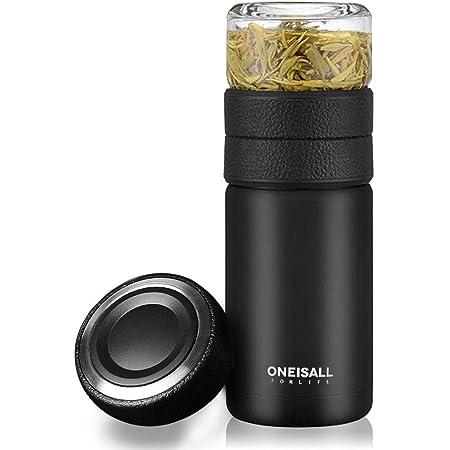 水筒 ティーボトル 茶こしつき 真空断熱タンブラー2重 保温 お茶 カップ 分離式水筒 ステンレス 直のみ 軽量 600ml おまけ付(カップ蓋) (黒い)