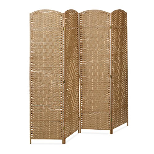 Relaxdays Paravent BYÖBU hoch H x B x T: 179 x 180 x 2 cm faltbarer Sichtschutz aus 4 Elementen auch als Raumteiler mit Bambus Streben Spanische Wand und blickdichter Raumtrenner aus Holz, natur