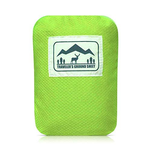"Reliable Outdoor Gear ""Pocket Blanket"" (Traveler's Ground Sheet) for Hiking, Camping, Beach and Picnic - Water Resistant, Compact Storage Pouch, Weights 140 Grams, Measures 1.9 x 1.27 Meters …"