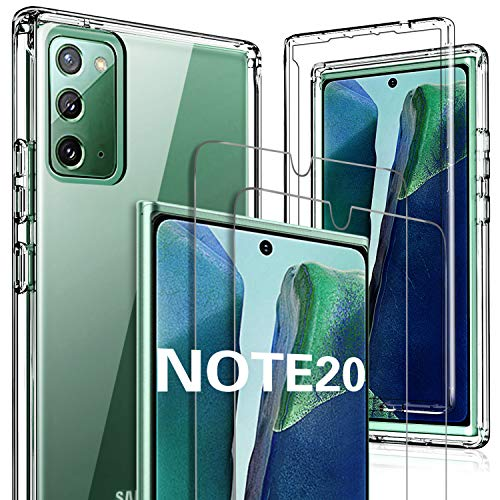 GESMA for Samsung Galaxy Note 20 Case with Screen Protector, [1 Case+2 Screen Protector+1 Tray] Full Body Case Screen Protector [Support Fingerprint] Tempered Glass for Samsung Galaxy Note 20(Clear)