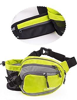 MAI QIU ウエストバッグ メンズ ウエストポーチ アウトドア 水筒ポーチ付 耐久性 通気性 レディース ハイキング 旅行 登山 散歩 ペットボトルなど収納可 (黄緑色)