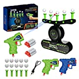 QCKJ Air Floating Ball Targets Shooting Games Glow in The Dark Hover Shooting Targets Practice Toys for Boys Kids with 2 Foam Darts Toy Guns and 10 Foam Bullets and Floating Balls