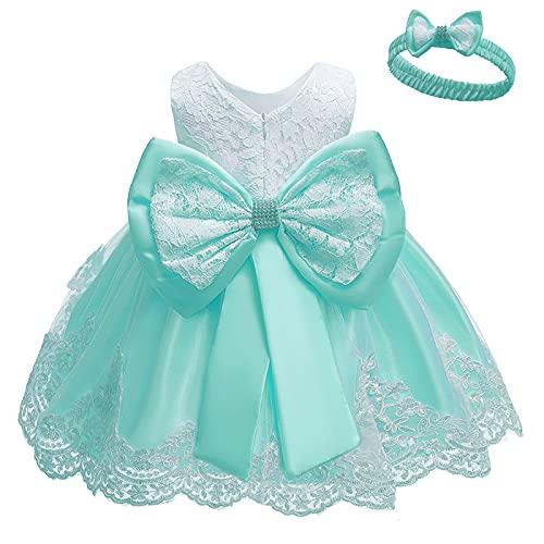 TURMIN Vestido para Niñas Bebés Lentejuelas Bowknot Vestidos de Encaje Tutu Flor Princesa Dama de Fiesta de Cumpleaños Vestido sin Mangas Bautismo de Bebé Vestido de Bautizo con Sombreros