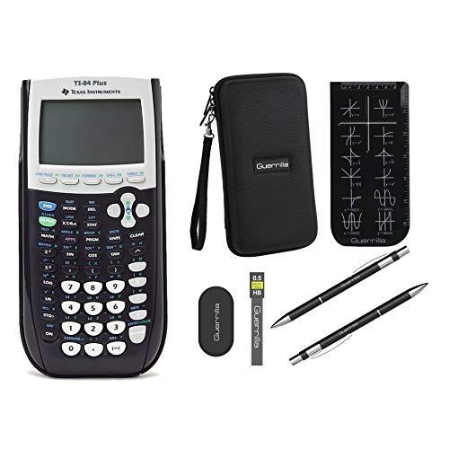 Texas Instruments TI-84 Plus Graphing Calculator + Guerrilla Zipper Case + Essential Graphing Calculator Accessory Kit (Black)