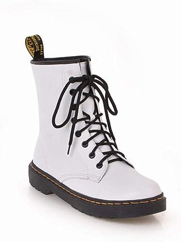 ZHRUI Stiefel para damen - Stiefel Martin Botines Gruesas con Viento británico Stiefel de Encaje Stiefel Cortas de tacón bajo 34-43 (Farbe   Weiß, tamaño   34)