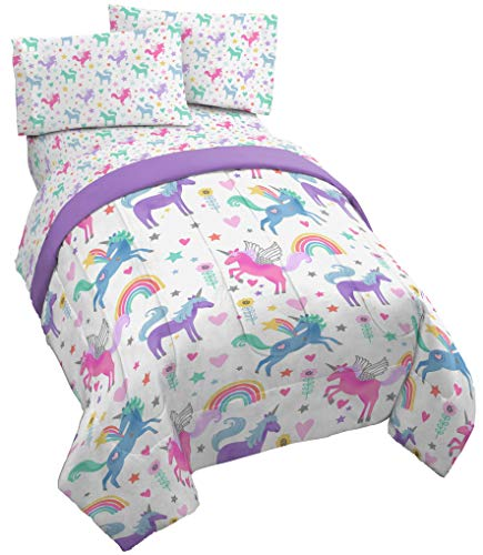 Jay Franco Unicorn Rainbow 5 Piece Full Bed Set - Includes Comforter & Sheet Set - Super Soft Fade Resistant Microfiber