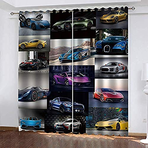 YJLucky 3D Rideaux Occultant Fenêtre 170Cm X 200Cm Voiture Isolation Thermique Rideau Doux Affaiblir des Bruitspour Les Fenêtres des Chambres pour Enfant 2 Pièces