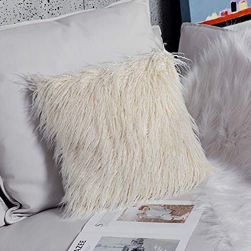 OJIA Deluxe Home Decorative Super Soft Plush Mongolian Faux Fur Throw Pillow Cover Cushion Case (20 x 20 Inch, Light Yellow)