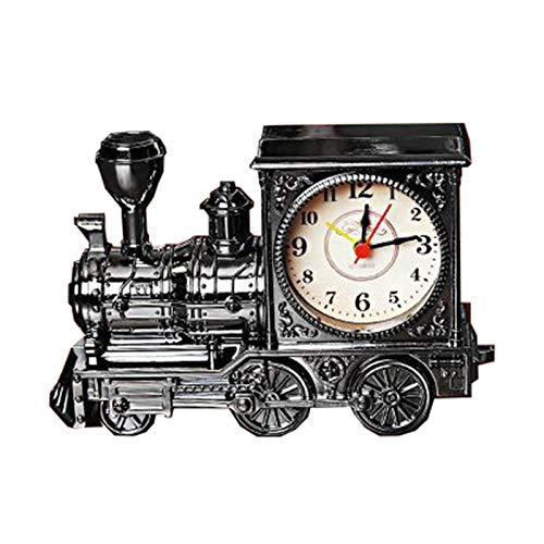 HLONGG Kreative Antike Lokomotive Wecker, Tischuhr Für Innendekoration, Schreibtisch Uhr Für Studenten, Einfache Bedienung,Schwarz