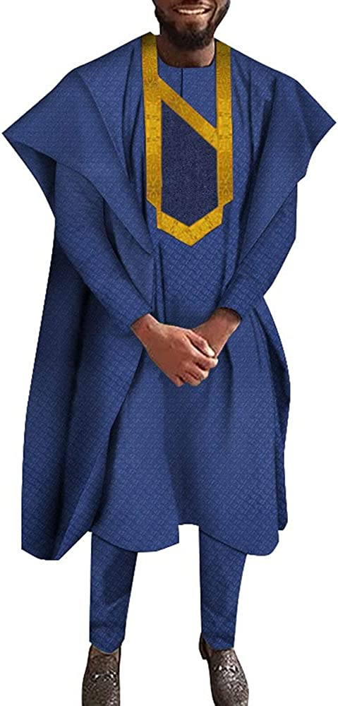 African Boubou African Clothes for Men Dashiki Agbada Robe Suits 3 Pieces Sets Nigerian Clothes Bazin Riche Men's Outfits