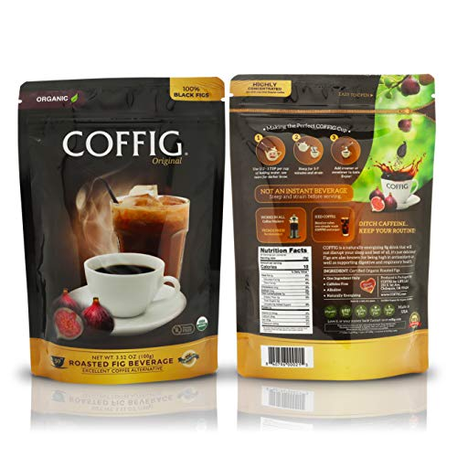 COFFIG Roasted Fig Beverage - Coffee Substitute Caffeine Free - Certified 100% Organic Fruit Energy Drink - Sugar Free - Gluten Free - Low Acidity - Highly Concentrated